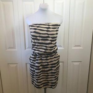 """Aqua Tan/Navy Strapless """"Tattered"""" Dress Pockets S"""